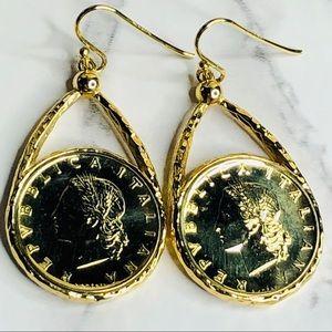 BELLEZZA 50 Lira Coin Drop Earrings 925 Wire Post